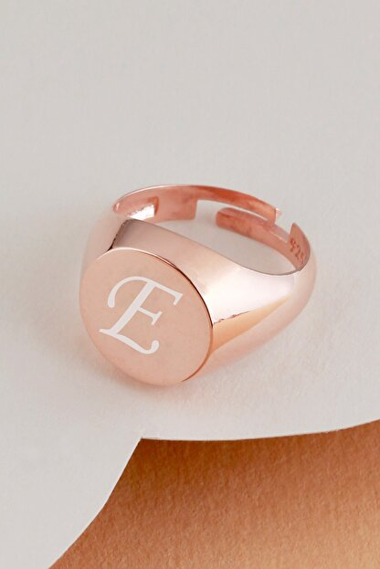 Tubiss Takı E Harfli Gümüş Eklem Yüzüğü