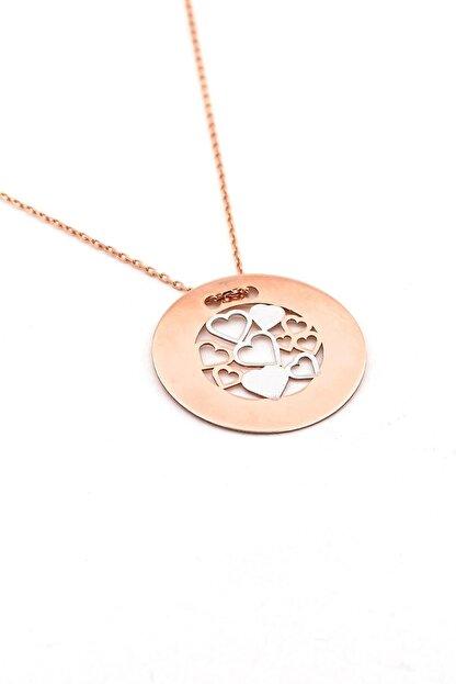Solfera Kadın Minik Kalpler Roze 925 Ayar Gümüş Kolye Zincir Q0177