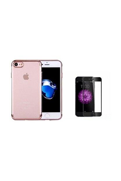 Teleplus Iphone 8 Kenarı Renkli Desenli Silikon Kılıf + Tam Kapatan Cam