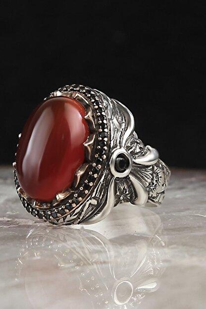 EstetikGumus Erkek Kırmızı Akik Taşlı Gümüş Erkek Yüzük PRA-700274-4241