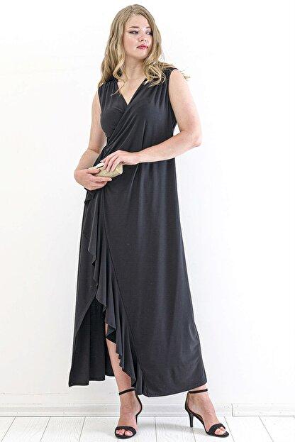Angelino Kadın Sandy Yan Yırtmaç Abiye Elbise PNR88 Siyah T109998
