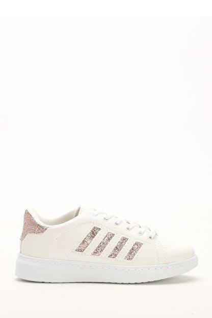 Ayakkabı Modası Beyaz-Bakır Kadın Sneaker M4000-19-101001R