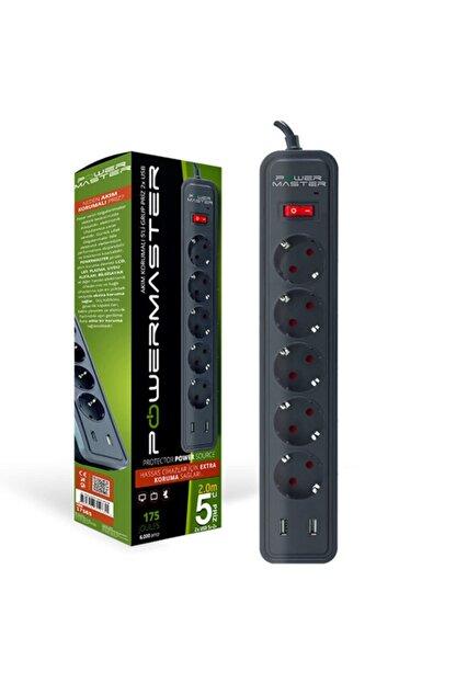 Powermaster Pm-17565 2 Usb Çıkışlı 5li 2 Metre Kablolu Akım Korumalı Priz (175 Joule-16a-4000 Watt)
