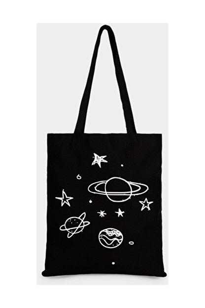Çınar Bez Çanta Gezegen Ve Yıldızlar Baskılı Ham Bez Çanta