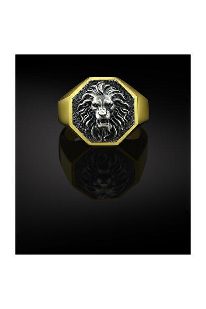 Bysilverstone Aslan Altın Kaplama Gümüş Erkek Yüzük