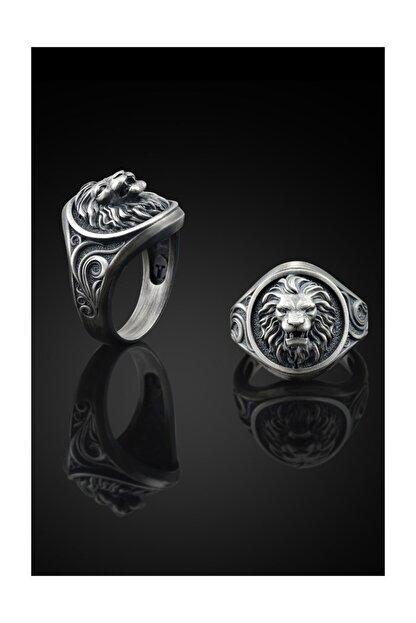 Bysilverstone Aslan Işlemeli Gümüş Erkek Yüzük