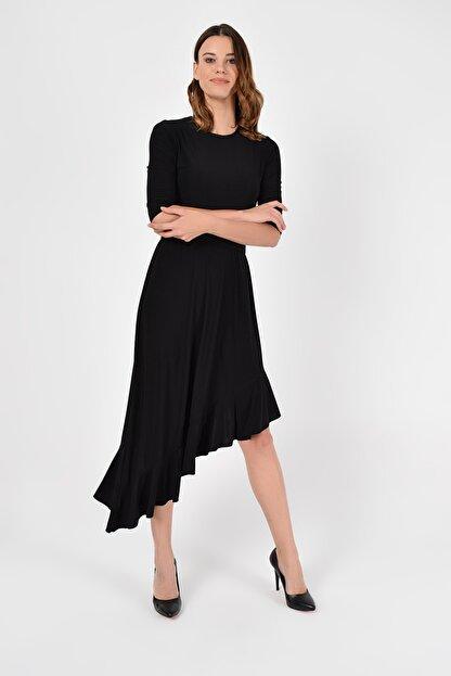 Laranor Kadın Siyah Asimetrik Kesim Elbise 19L6750