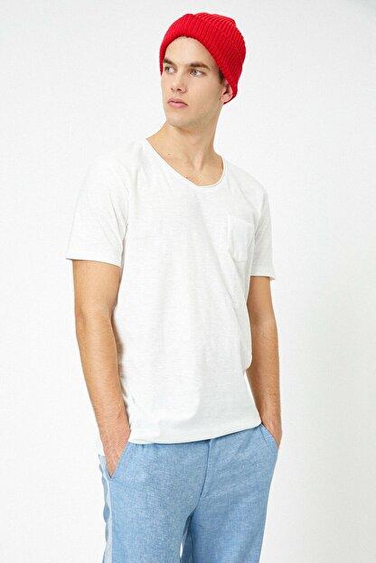 Koton Erkek Ekru V Yaka T-Shirt 0YAM12058LK