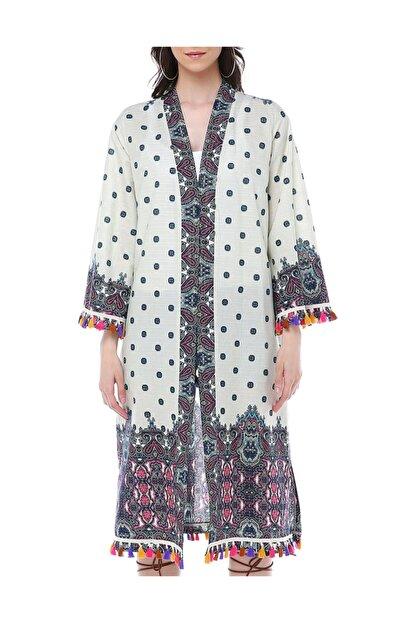 Diger Karakterler Etnik Desenli Aksesuar Detaylı Pamuklu Kumaştan Yazlık Uzun Kimono Elbise
