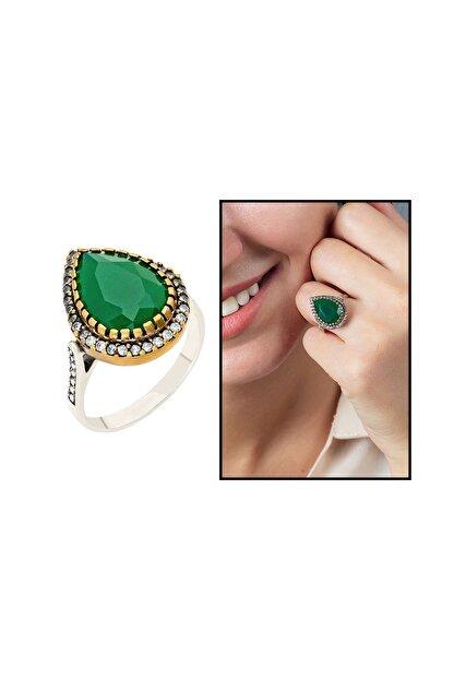 Tesbihane 925 Ayar Gümüş Zirkon Ve Yeşil Ruby Taşlı Damla Tasarım Otantik Kadın Yüzük 102000415