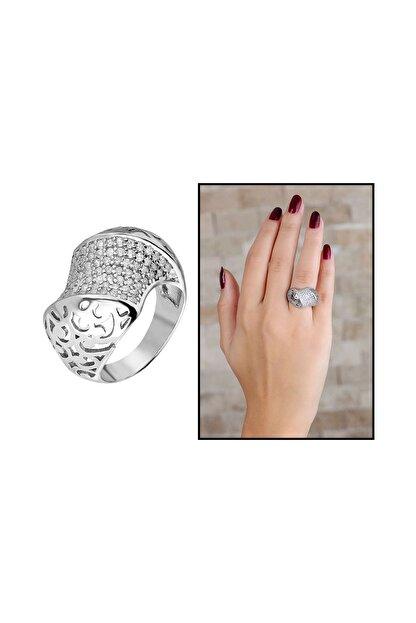 Tesbihane 925 Ayar Gümüş Zirkon Taş İşlemeli Özel Tasarım Bayan Yüzük 102001339