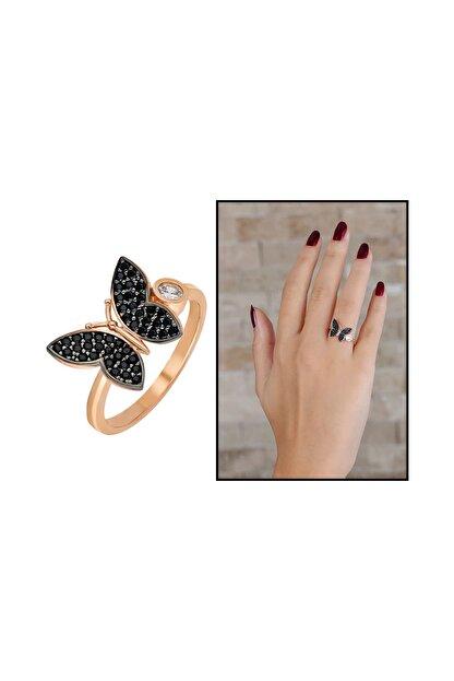 Tesbihane Siyah Zirkon Taşlı Kelebek Tasarım 925 Ayar Gümüş Kadın Yüzük 102001641