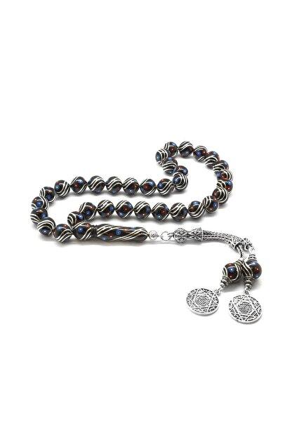 Tesbihane 925 Ayar Gümüş Püsküllü Gümüş-Firuze-Mercan İşlemeli Küre Kesim Erzurum Oltu Taşı Tesbih 101001824
