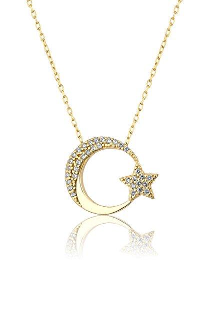 Papatya Silver 925 Ayar Altın Kaplama Gümüş Ay Yıldız Kolye
