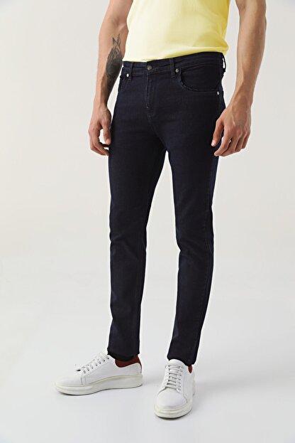 D'S Damat Erkek Lacivert Slim Fit Düz Denim Pantolon
