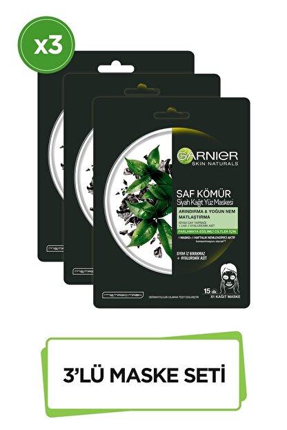 Garnier Saf Kömür ve Siyah Çay özlü Kağıt Yüz Maskesi 3'lü Set 36005420971852