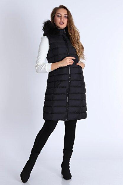 MD trend Kadın Fermuarlı Kapşonu Kürklü Şişme Yelek/siyah/xl