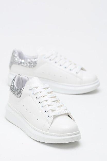 Ayakkabı Modası Beyaz-Gümüş Kadın Casual Ayakkabı 5007-20-110001
