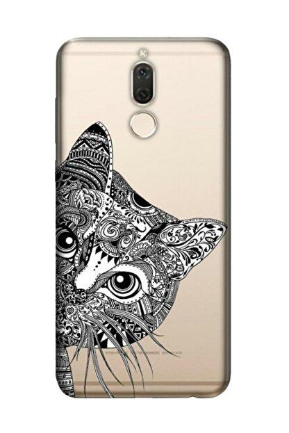 Cekuonline Huawei Mate 10 Lite Kılıf Desenli Resimli Hd Silikon Telefon Kabı Kapak - Tekir Kedi Mandala