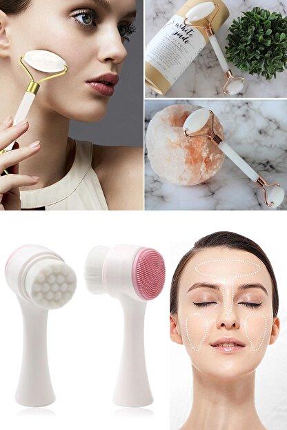 Xolo Jade Roller Beyaz 2'li Yeşim Taşı Masaj Aleti + Silikon Yüz Temizleme Fırçası