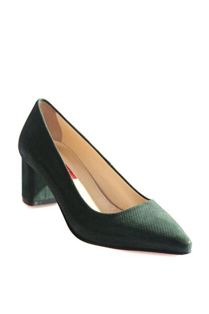 Dgn Yeşil Süet Kadın Klasik Topuklu Ayakkabı 375-127