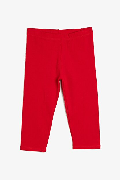 Koton Kız Kırmızı Düz Tayt 0YKG47896OK