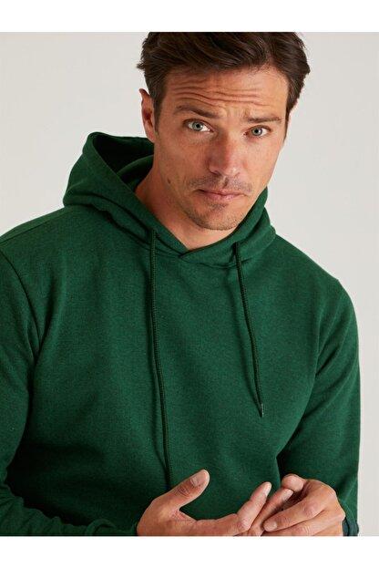 Dufy Zümrüt Yeşili Kapüşonlu Kanguru Cepli Erkek Sweatshırt - Slım Fıt
