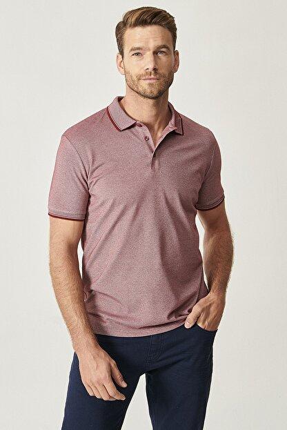 Altınyıldız Classics Erkek Bordo Düğmeli Polo Yaka Cepsiz Slim Fit Dar Kesim Düz Tişört