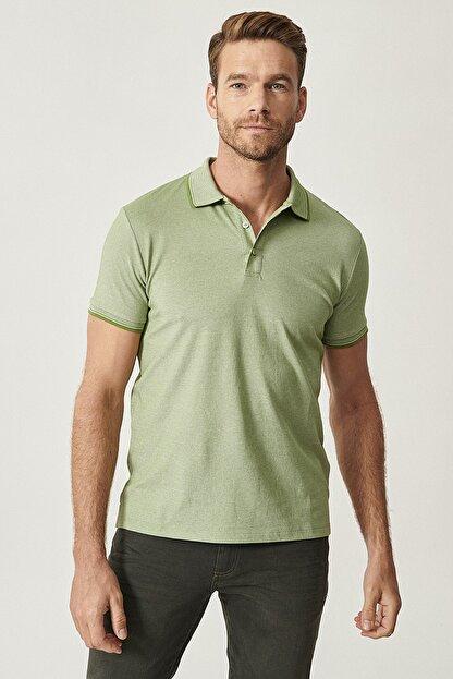 Altınyıldız Classics Erkek Yeşil Düğmeli Polo Yaka Cepsiz Slim Fit Dar Kesim Düz Tişört