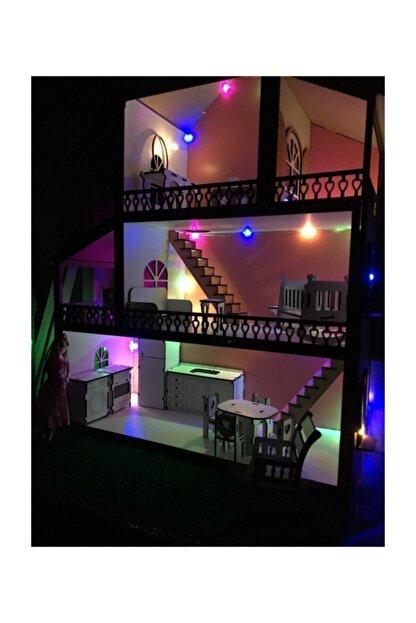 MYS Ahşap Işıklı Barbie Bebek Oyun Evi