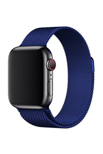 TahTicMer Apple Watch 40 Mm Çelik Kayış Hasır Örme Kordon Milano Mavi