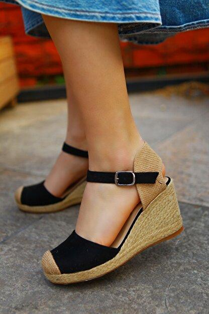 TRENDBU AYAKKABI Kadın Siyah Süet Dolgu Topuklu Ayakkabı