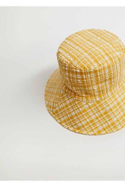 Mango Kadın Sarı Dokuma Bucket Şapka 87096317