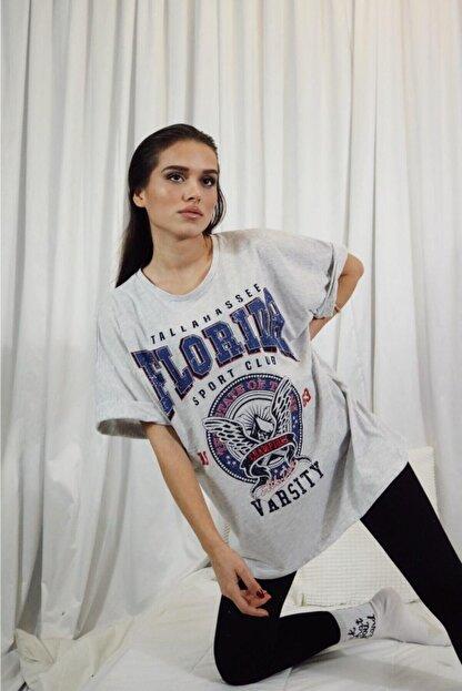 blackjack giyim Kadın Gri Oversize Florida Tshirt