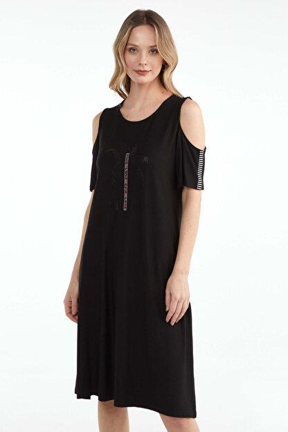 Sementa Pencere Kol Büyük Beden Taş Detaylı Kadın Elbise - Siyah