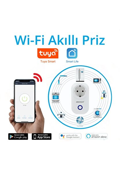 ALPSMART As810eu Akıllı Wifi Priz Uzaktan Kontrol Tuya+smart Life Destekli