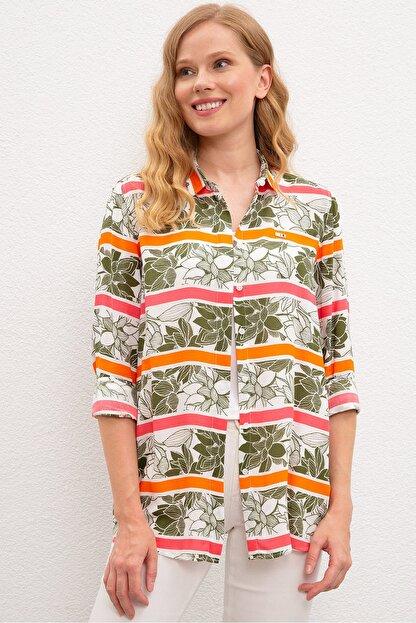 US Polo Assn Yesil Kadın Dokuma Gömlek