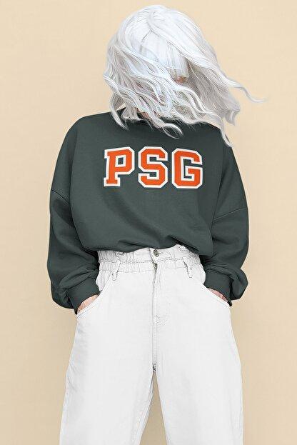 Pasage Kadın Gri Oversize Psg Baskılı Sweatshirt