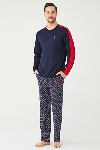 US Polo Assn Erkek Lacivert Patlı Pijama Takım
