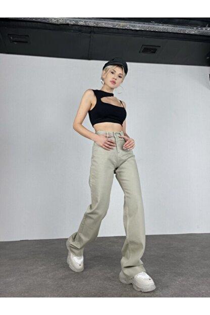 HOLLY LOLLY Kadın Haki Slim Flare Yüksek Bel Partey Jean