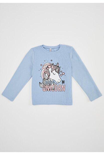 Defacto Kız Çocuk Unicorn Selanik Kumaş Sweatshirt