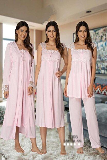Effort Pijama Zerre Bebe Kadın Pembe Pijama Takımı Gecelik Sabahlık Lohusa Hamile 4'lü Set 2305