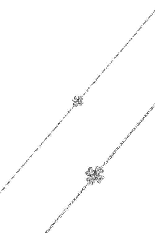 İzla Design Kadın Yonca Model Zirkon Taşlı Gümüş İtalyan Bileklik PKT-TLYSLVR0757 1