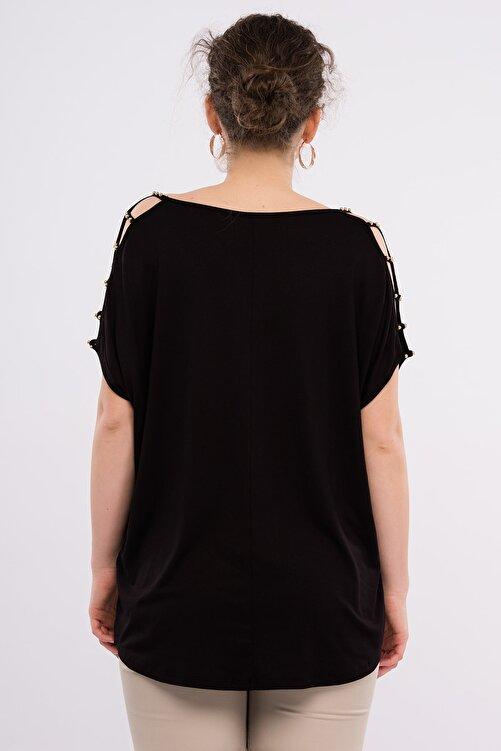 Şans Kadın Büyük Beden Siyah Omuz Dekolteli İnci Detaylı Viskon Bluz 65N15453 2