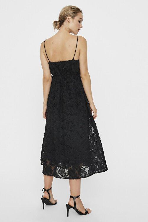 Vero Moda Kadın Siyah Siyah İnce Askılı Dantelli Kare Yaka Elbise 10226655 VMKAYA 2