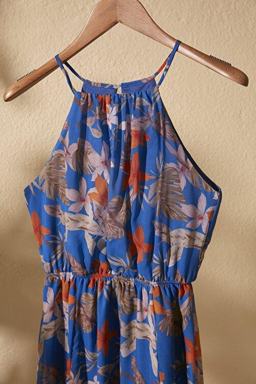 TRENDYOLMİLLA Lacivert Çiçek Desenli Yırtmaçlı  Elbise TWOSS20EL1297 2