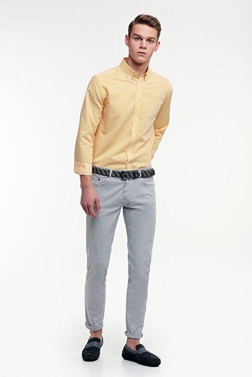 Hemington Sarı Beyaz Çizgili Ince Spor Gömlek 2