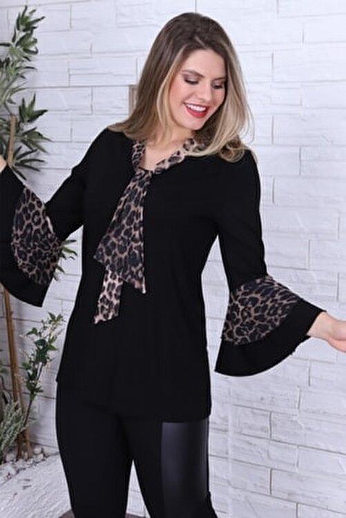 1fazlası Kadın Büyük Beden Kahverengi Leopar Desenli Bluz 1