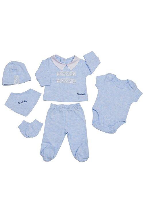 Pierre Cardin Baby Pierre Cardin Dantelli Düğmeli Yenidoğan Takımlı Bebek Seti Mavi-melanj 1