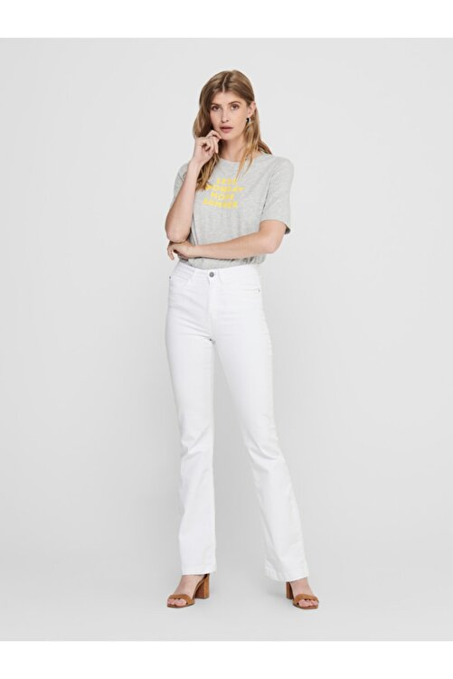 Only Kadın Gri Önü Yazılı Pamuklu Kısa Kollu T-Shirt 15208549 ONLCLARA 2